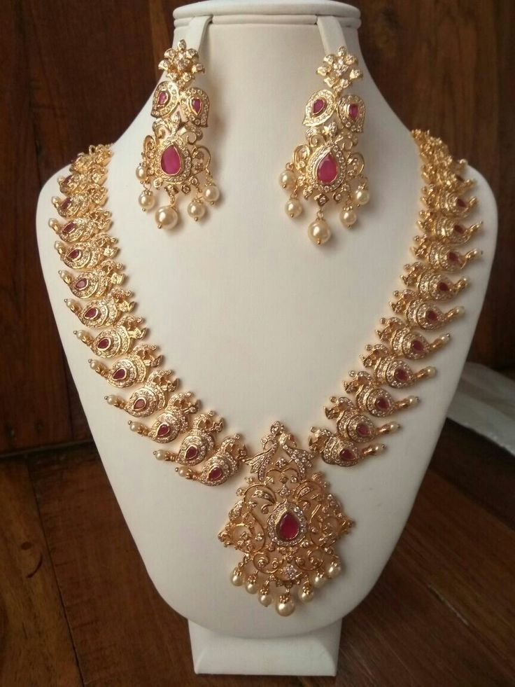 Cz peacock necklace To order WhatsApp on 9703713779