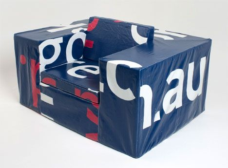 Sofa Seat Made From Cushions And Wrapped Milk Crates