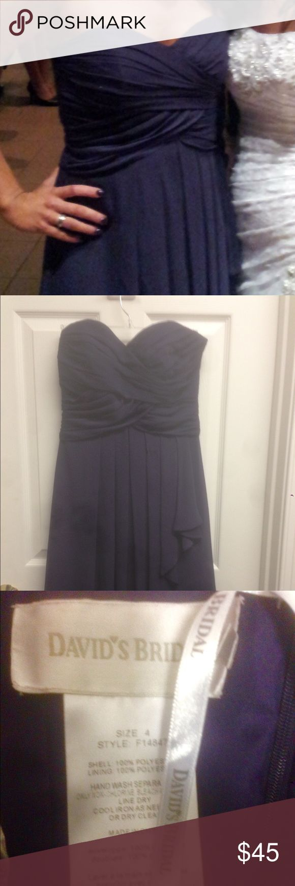 Deep Purple David's Bridal Strapless Dress If you need more pictures please let me know. Beautiful dress, worn once as bridesmaid in wedding, can be worn for many events. David's Bridal Dresses Strapless