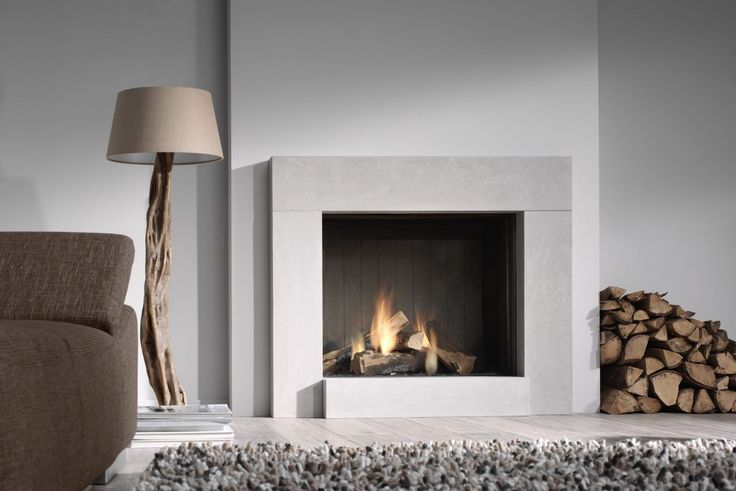 trendy square shaped modern fireplace