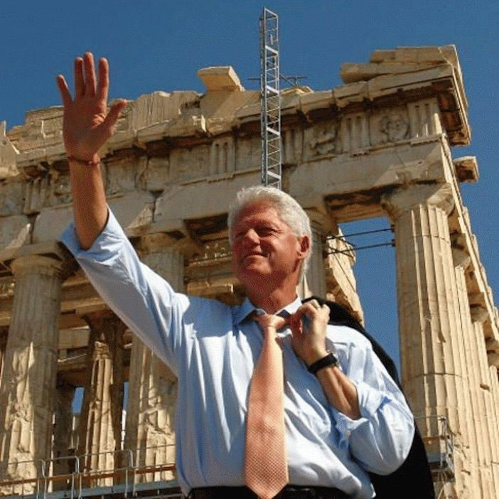 President Bill Clinton in Athens in 1999 when he also gave his famous speech apologizing to the Greek people for the US role in supporting the 1967-74 military dictatorship