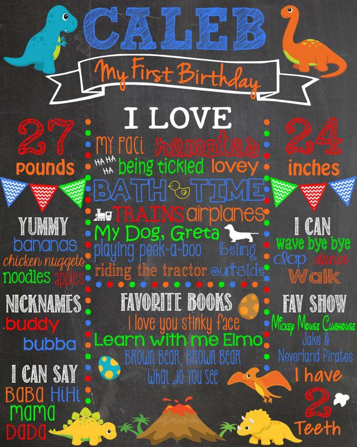 Dinosaur First Birthday Chalkboard/ Boy First Birthday