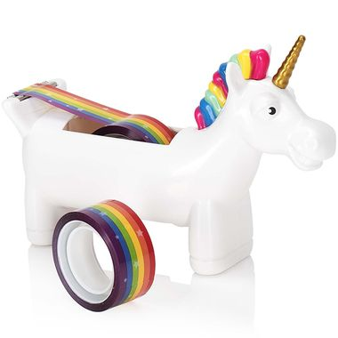 Just look at that super silly, smiling unicorn face!  He's so happy he could poop rainbows!  Oh look... there he goes!  A simply enchanting way to use and hold your tape... add a touch of fantasy to your gift wrapping extravaganza with our mystical Unicorn Rainbow Tape Dispenser!    The star speckled rainbow tape is perfect for adding the finishing touches to craft projects, scrap booking or simply repairing and amazafying random objects!  A magical gift for any unicorn lover, they'll be so…