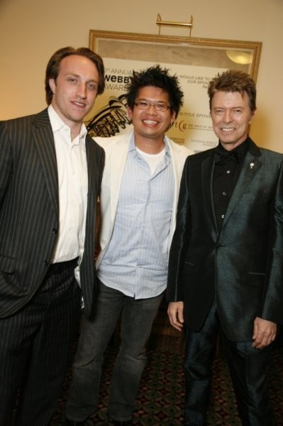 Snazzy Webby Winners (L to R):  YouTube founders Chad Hurley and Steve Chen, and David Bowie.