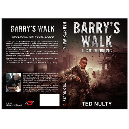 Winning cover design for book 2 in zombie apocalypse series. Cover reflect struggle of the 12 year old boy  to survive in apocalyptic world and find way to his brother and father. Boy  was aided by National Guard so CH wanted to show him in uniform and weapon.