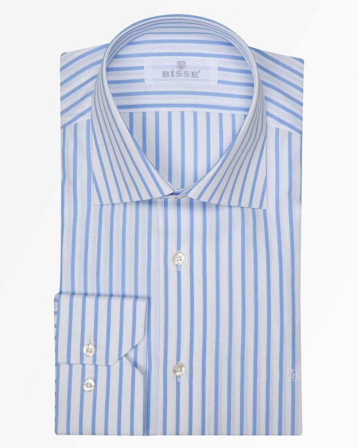 Mavi-Beyaz Çizgili Gömlek / White-Blue Stripe Shirt http://www.bisse.com/p-624-klask-yaka-mav-beyaz-zgl-gmlek.aspx