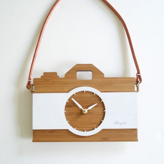 Unique wall clock - retro modern camera with leather strap, Father's Day on Etsy, $84.00