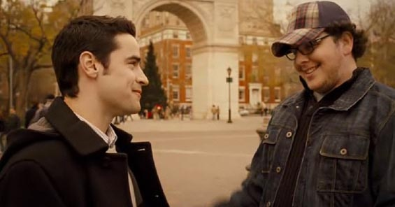 Charlie stands talking to his friend in Washington Square Park when he notices the girl. My Sassy Girl (2008)