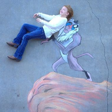 Fans of Disney's 'The Lion King' will love this sidewalk chalk art by BJ Wilkinson, starring his daughter Ava!
