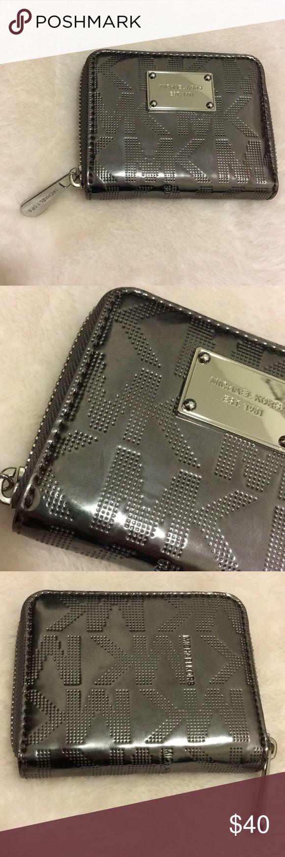 Michael Kors Jet Set Bi-Fold Zip Wallet Michael Kors Jet Set Zip Around Bi-Fold Wallet Dark Silver Color Michael Kors Bags Wallets