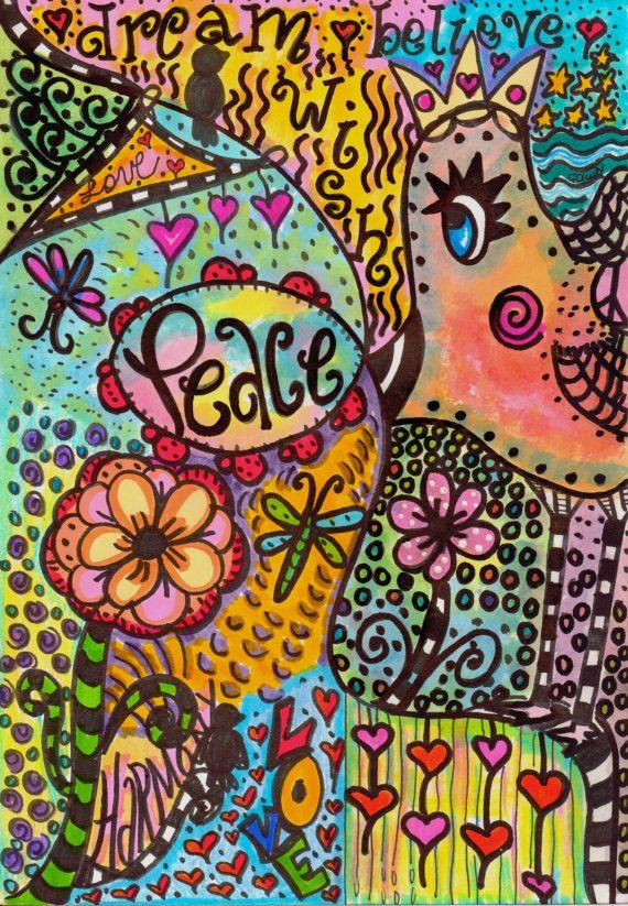 Hippie Art Original Peace Bird by DawnCollinsArt on Etsy, $25.00