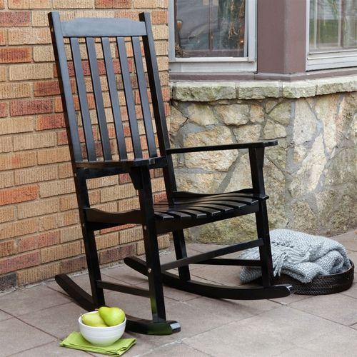 Indoor/Outdoor Patio Porch Black Slat Rocking Chair