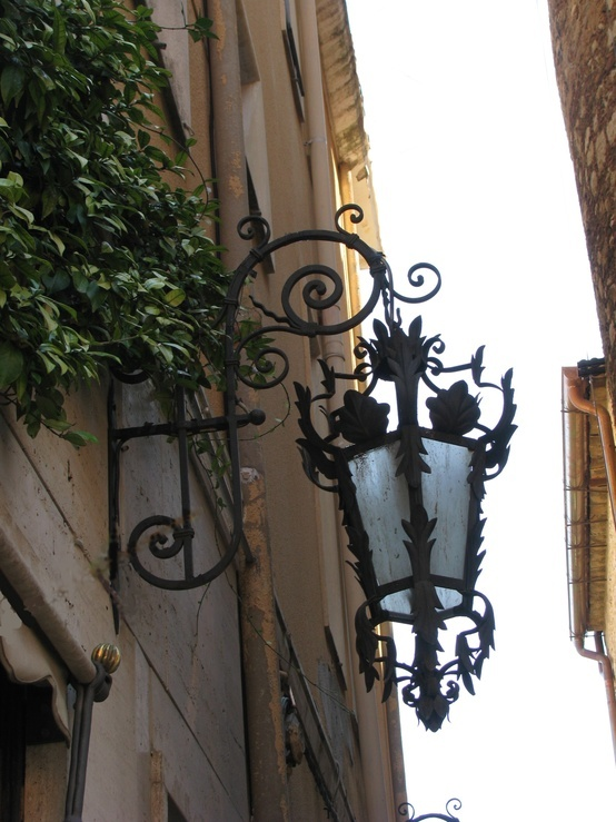Beautiful & Artistic Wrought Iron Outdoor Lamp Post on a Building...Taormina, Sicily