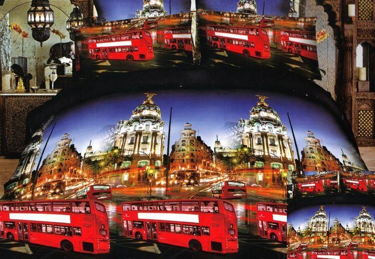 Beżowa pościel z mikrowłókna z motywem londyńskim