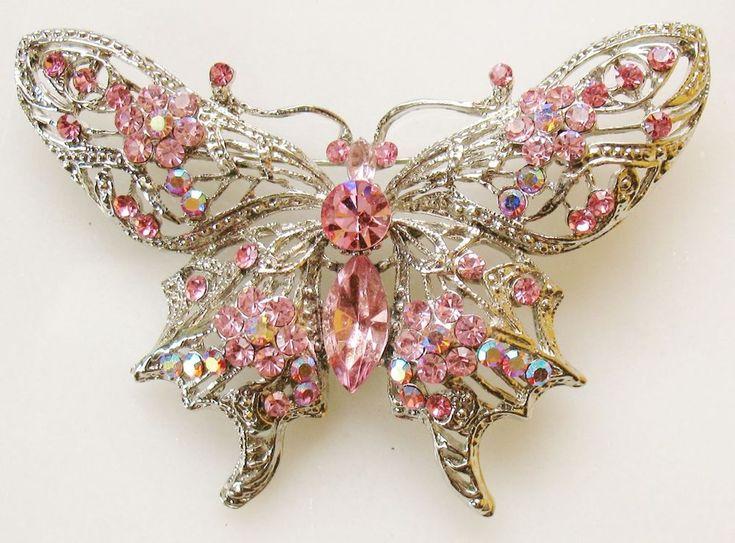 Large Art Nouveau Style Pink Rhinestone Butterfly Pin Brooch FREE SHIPPING   | eBay