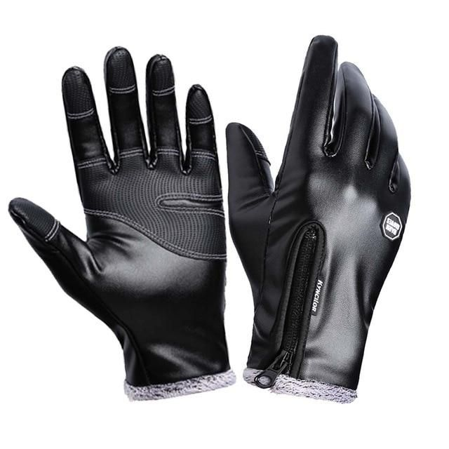 Fashion Black Men Winter Leather Motorcycle Full Finger Touch Screen Warm Gloves