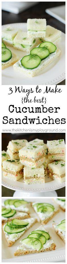 Cucumber Tea Sandwiches ~ 3 spreads & 3 ways! http://www.thekitchenismyplayground.com?utm_content=buffere9607&utm_medium=social&utm_source=pinterest.com&utm_campaign=buffer