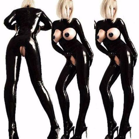 Plus Size S-4Xl Leather Gothic Catsuit Bodysuit Jumpsuit Pvc Clubwear Costume!!