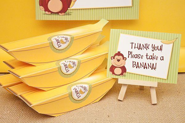 Printable Banana Favor Boxes perfect for Monkey, Curious George, Jungle and Market themed parties! by Piggy Bank Parties #PiggyBankParties #RedBarnFeature