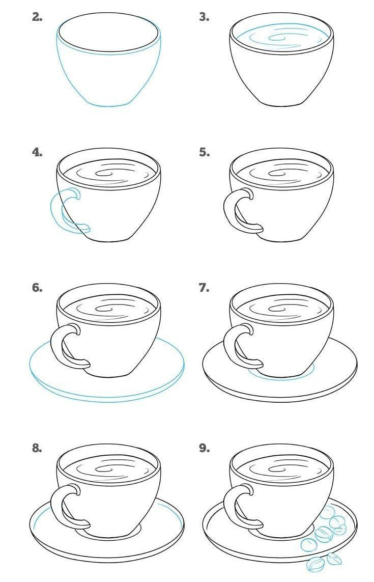 How To Draw A Cup With A Plate Step By Step In 2020 Drawing Tutorial Easy Drawing Tutorials For Beginners Easy Drawings For Beginners