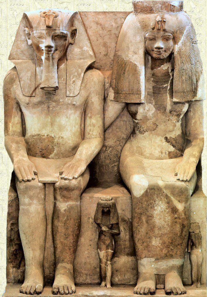 Amenhotep III, Tiyi I et trois de leurs filles - Musée Égyptien du Caire