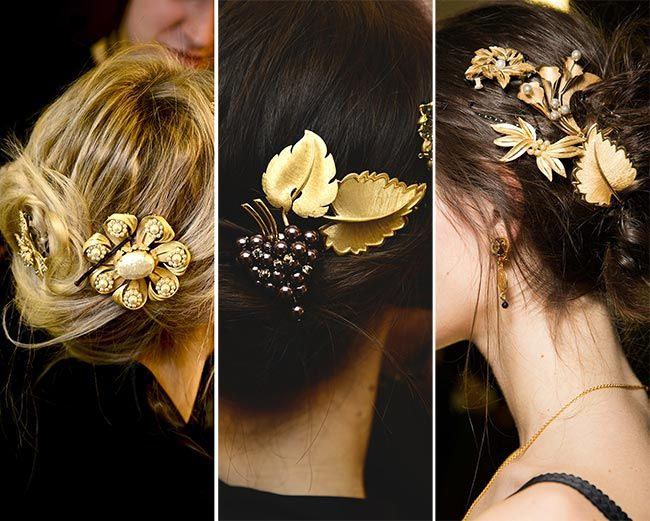 Fall/ Winter 2015-2016 Hair Accessory Trends: Jewelled Hair Clips, Barrettes #accessories #hairaccessories: