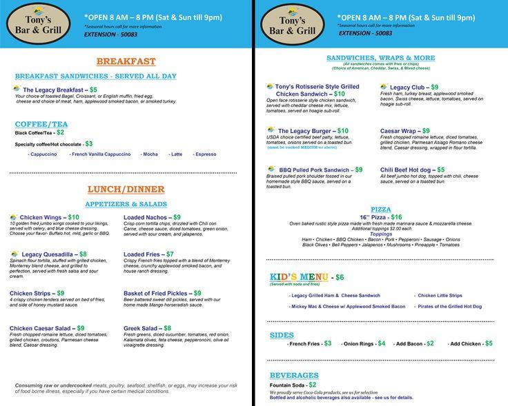 Check out the new #menu & hours at Tony's Bar & Grill at Legacy Vacation Club #Orlando. #vacation #food #yum