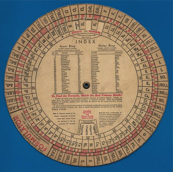 Vintage  Cambosco Formulator Wheel  of Atomic Weights and