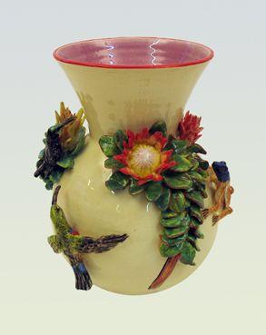Proteas, Sunbirds and Lizzard vase - Ken Rowse