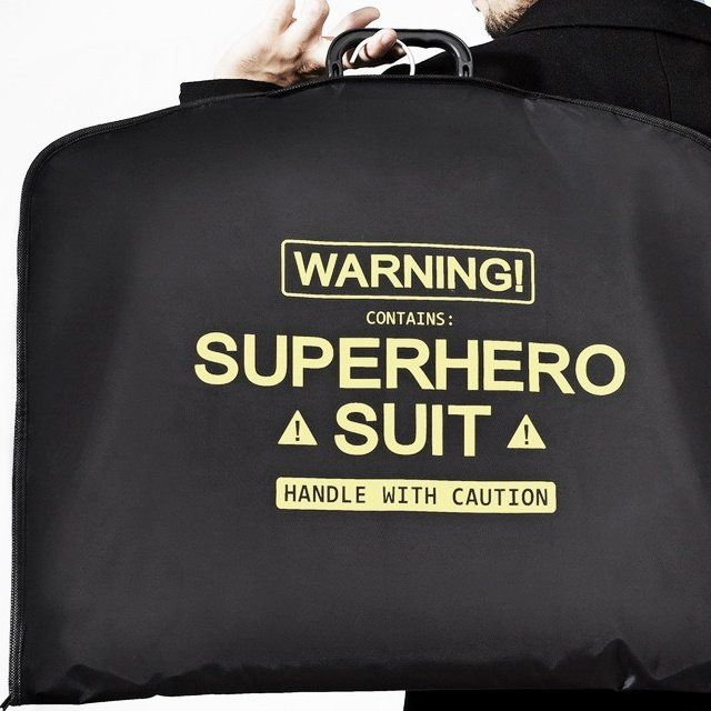 The high-quality Superhero suit carrier has a polyester exterior and is polypropylene on the inside.