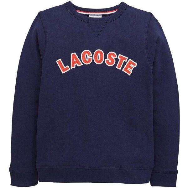 Lacoste Logo Sweat Top (565 SEK) ❤ liked on Polyvore featuring tops, hoodies, sweatshirts, blue top, blue sweatshirt, lacoste, lacoste sweatshirt and logo sweatshirts