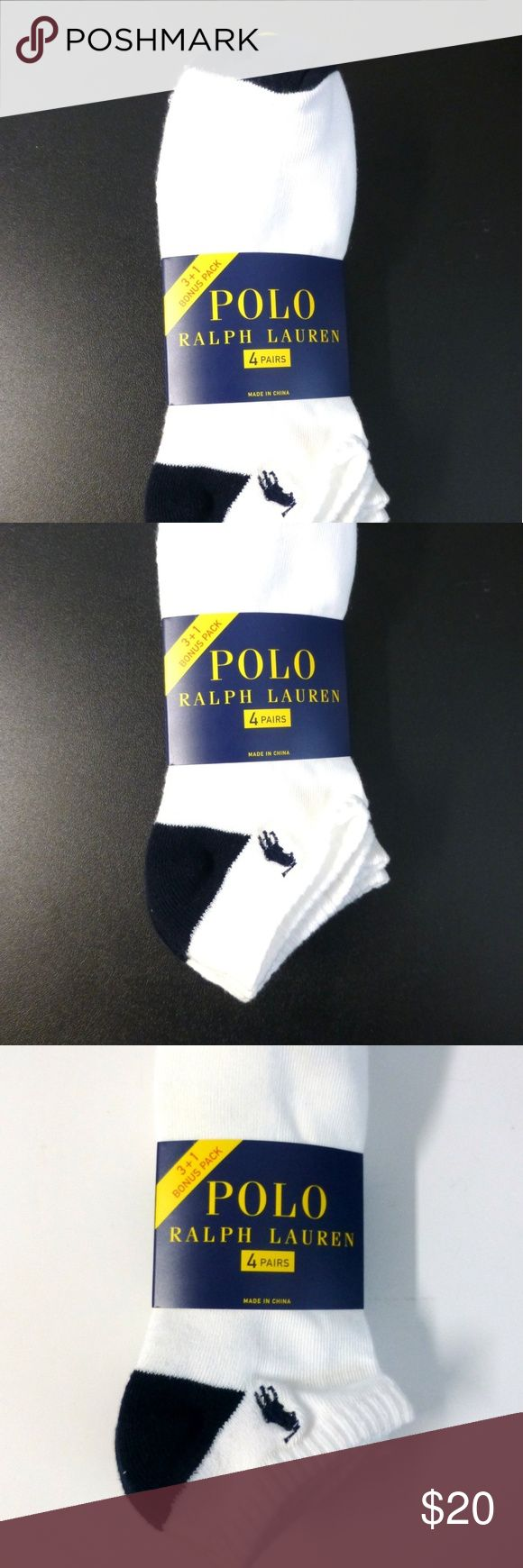 Polo Ralph Lauren 4pr 10-13 white quarter socks New in package. White quarter socks have a black heel, toe and pony logo. 98% polyester 2% spandex. Polo by Ralph Lauren Underwear & Socks Casual Socks