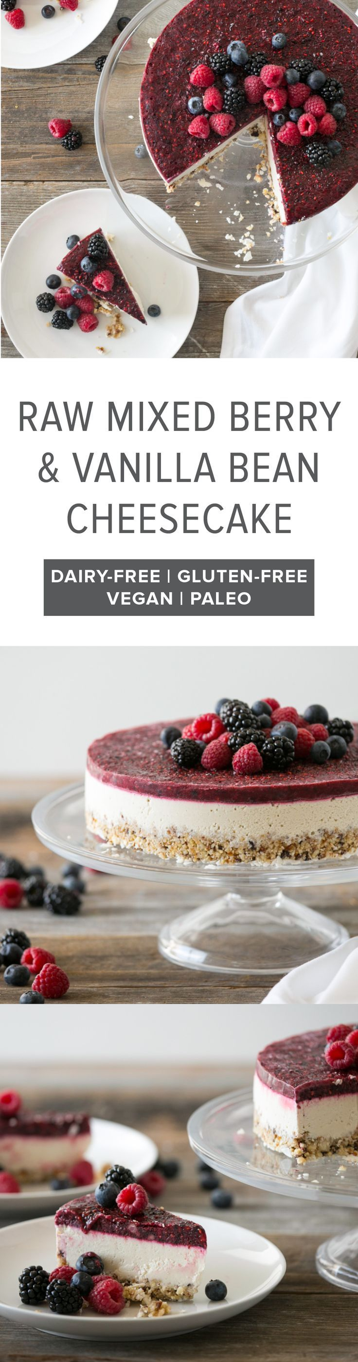 (gluten-free, dairy-free, paleo, vegan) One of my favorite raw cheesecake recipes - raw mixed berry and vanilla bean cheesecake.