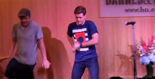 Aaron Tveit doing the  most adorkable dance in the history of adorkable dances <3 (gif)