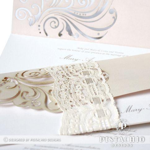 Classic laser lace wedding invitation by www.pistachiodesigns.co.za