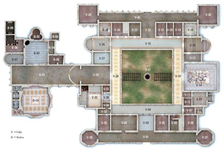 Plano villa romana de la olmeda casas en planos for Villas romanas