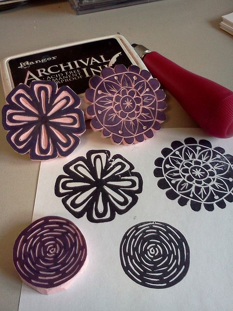 Student Art Work from my online class: Stamp Carving 101