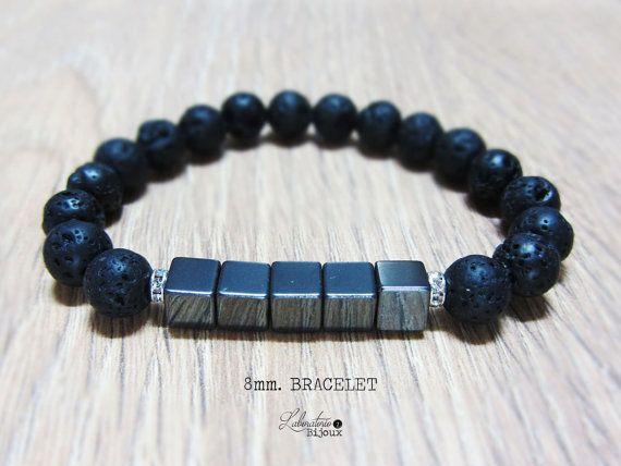 Men's Black Lava & Hematite Bracelet,Men Bracelet, Men's beaded bracelet, Stretch Bracelet,Wrap Bracelet,Force Bracelet,Mens Jewelry