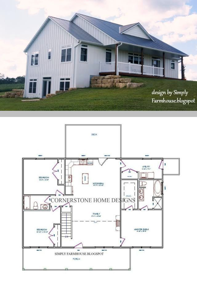 Simply Farmhouse A Larger Version With A Basement 1600sf 3 Bdrm 2 Baths Open Living Area Mud House Plans Farmhouse Basement House Plans Barn House Plans