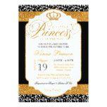 Royal Princess Black White Gold Damask Baby Shower Card