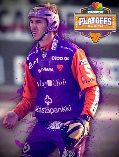 "Player photo. ""Dried blood"" splashes and playoffs logo design"
