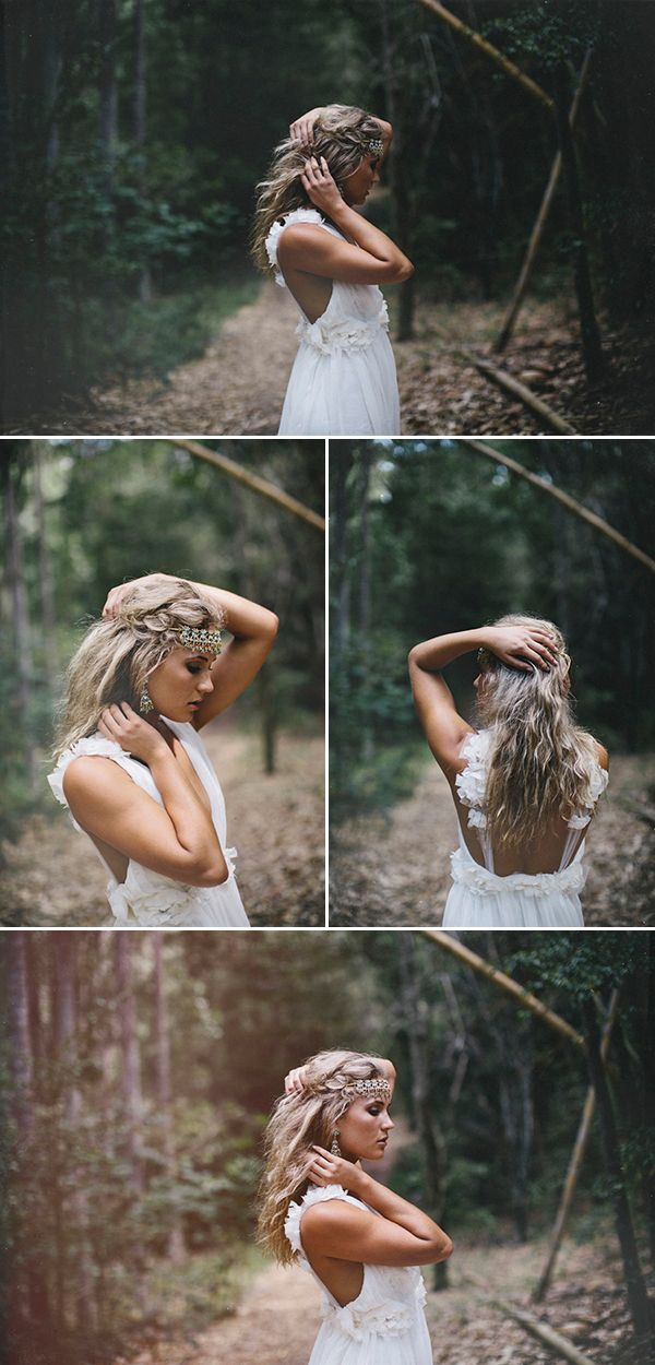 For all the Boho brides out there. Love. Gowns, veils, and hairpieces: Grace Loves Lace / Photography: James Frost #wedding #boho