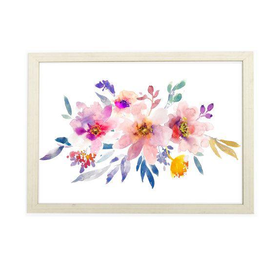 Watercolor wall art botanical print flowers by artprintbeauty