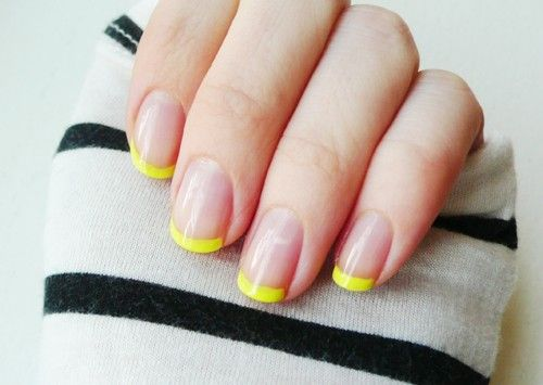 yellow tips: Nails Art, Nailart, French Manicures, Nails Tips, Nails Ideas, Nails Polish, French Tips, Neon Nails, Neon Yellow