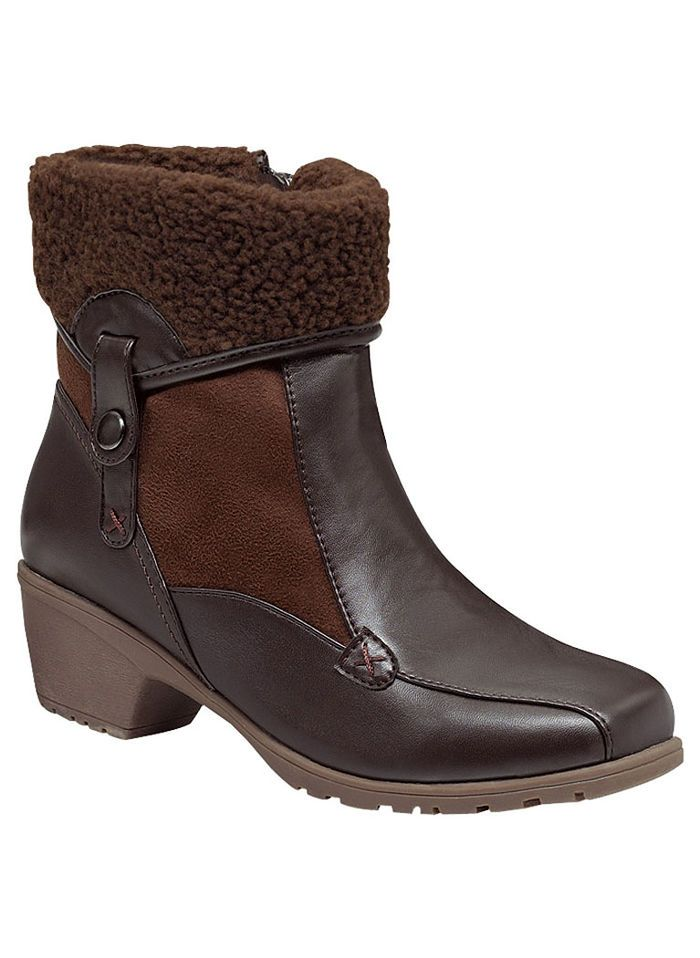 "Lami and urethane boot with faux-fur cuff has a fully lined upper, snap detail and side zip closure. Cushioned insole. Lightweight flexible outsole. 1-1/2"" heel. Imported. In whole and half sizes. 10, 11, 12 whole sizes only."