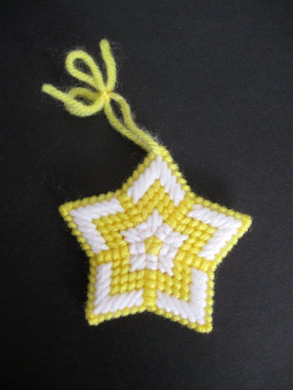 Plastic Canvas Needlepoint Star Ornament by NeedlecraftsPlus
