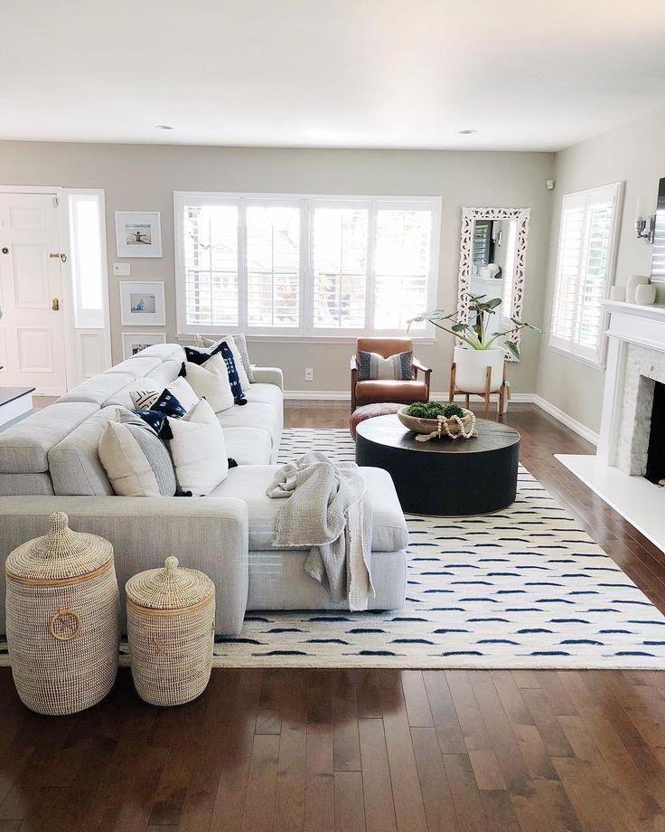 Simple Neutral Tone Living Room Hardwood Floors Light Gray Sofa Cozylivingroo With Images Living Room Sofa Design Farm House Living Room Farmhouse Decor Living Room