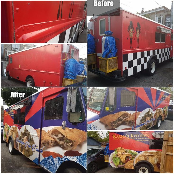 Amazing before and after food truck wrap by Speedpro Imaging Toronto West!