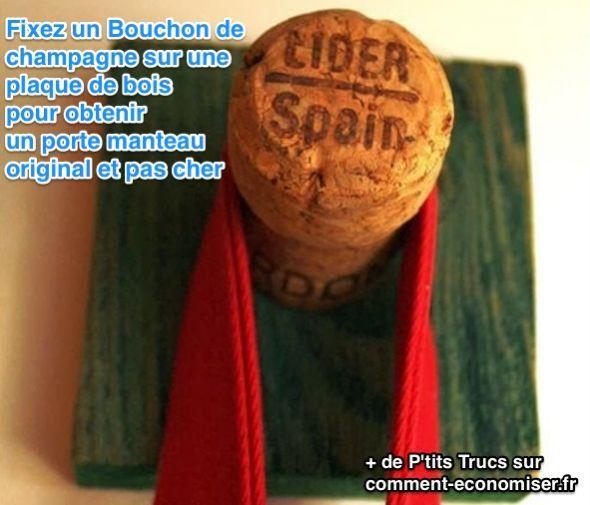 Saviez-vous qu'avec des bouchons de champagne ou de vin, vous pouvez vous confectionner un portemanteau vraiment sympa ?  Découvrez l'astuce ici : http://www.comment-economiser.fr/porte-manteau-original-pas-cher.html