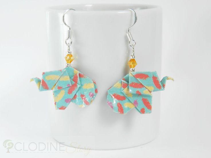 Boucles d'oreilles éléphant bleu origami, éléphant origami, Bijoux en origami, Bijoux en papier